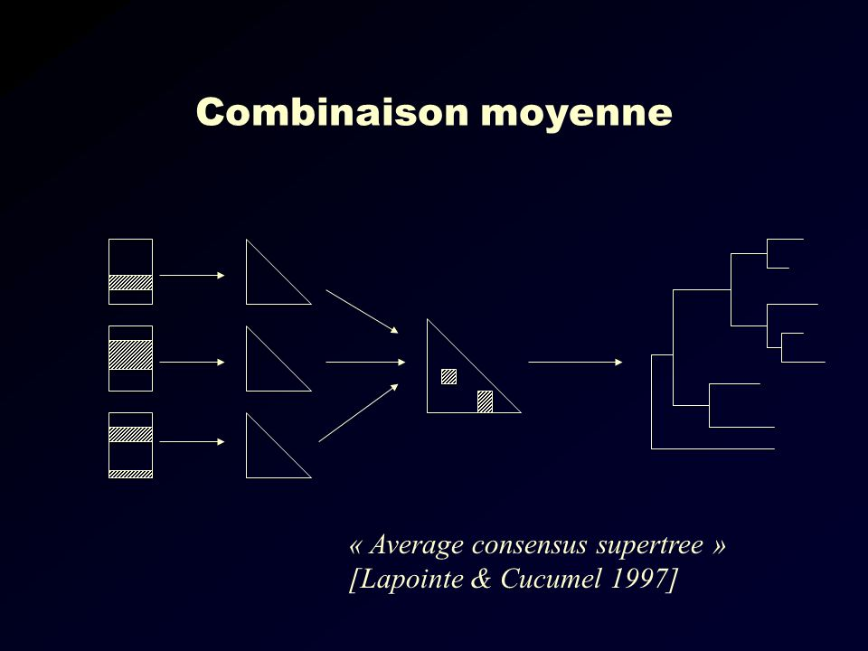 Combinaison moyenne « Average consensus supertree » [Lapointe & Cucumel 1997]